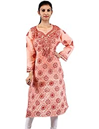 BDS Chikan Peach Cotton Base Kurti For Woman with Dark Peach Thread Chikan Work - BDS00105