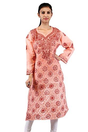 fb5475ed2f595 BDS Chikan Peach Cotton Base Kurti For Woman with Dark Peach Thread Chikan  Work – BDS00105