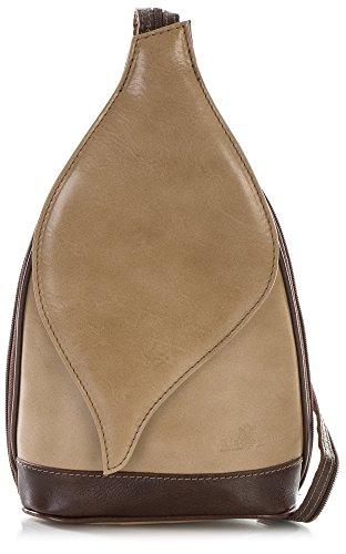 Petit sac à main 2 en 1 porté épaule transformable en sac à dos en autentique cuir italien - Ouverture magnétique type feuille - 'Kim' par LiaTalia(Chameau et bords brun)