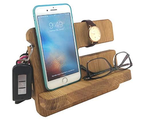Wood Spot Tisch Organizer Mini mit Handy Halter (Eichenholz) Autoschlüssel und Armbanduhr Hänger, Telefonhalter, Natürlicher Hartholz, Schreibtischorganizer, Nachttischorgnizer, Geschenke für Männer