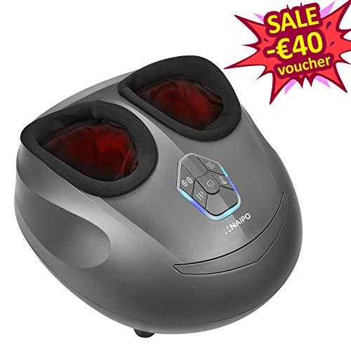 Naipo Appareil Massage Pied Masseur Shiatsu Chauffant Massage Electrique avec Massage Pétrissage Profond et Pression d'Air Appareil Ergonomique pour Relaxation