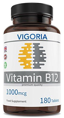 Vitamin B12 1000 mcg 180 Einfache Absorption auflösbare Tabletten - 6 Monatsvorrat - Müdigkeit und Ermüdung reduzieren - Für ein gesundes Nervensystem und Immununterstützung - Ohne GenTechnik - Vegan