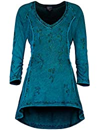 54b93ce72636 Wicked Dragon Embroidered hi-Low Hem Tunic up to Plus Size Black Blue