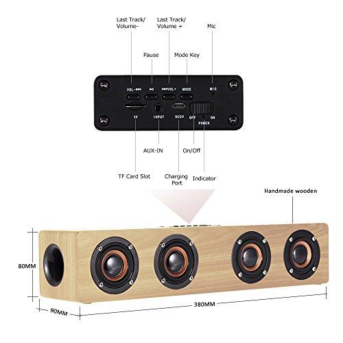 10 W Bluetooth altoparlante di Legno senza fili 2000 mAh continua di emissione 10 – 15H Bluetooth 4.0 altoparlante subwoofer stereo bassi MIGLIORATI batteria incorporata microfono vivavoce, Radio FM,  2