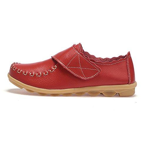 Femmes Mocassins Slip On Velcro Confort Chaussures de Conduite Shoes Noir Blanc Orange Rouge 35-41 Rouge