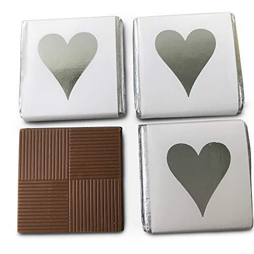 FLAIRELLE Schokotäfelchen, Feine Schokolade in silberner Folie und weißem Papier bedruckt mit Herz in silber 400g – Hochzeit oder als Gastgeschenke, Give Aways, Valentinstag,