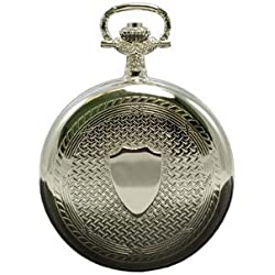 Contemporary Shield Patterned 17 Jewel Full Hunter Mechanical Pocket Watch PW52