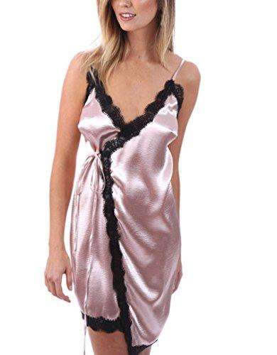 Femme Robes En Dentelle Transparente Dentelle Dos Nu Robes D'Été Robes Casual Robes Chemise pink