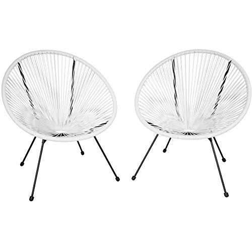 TecTake 800729 2er Set Acapulco Garten Stuhl, Lounge Sessel im Retro Design, Indoor und Outdoor, pflegeleicht, Relaxsessel zum gemütlichen Sitzen - Diverse Farben - (Weiß | Nr. 403303)