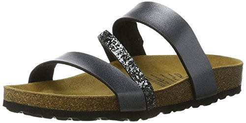 Lico Damen Bioline Glitter Flache Hausschuhe, Grau (ANTHRAZIT), 39 EU Damen Schuhe Glitter