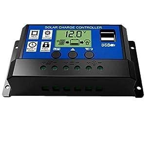 JZK® 20A 12V / 24V intelligente regolatore di carica pannello solare con display LCD e porta USB, regolatore di tensione e amperaggio per pannello solare, lampada, batteria e LED illuminazione