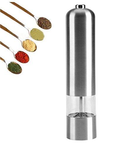 Edelstahl elektrische Küche Pfeffermühle Salzschleifer Salz Gewürzmühle Cordless Akku Einstellbare Salzmühle Powered Silber