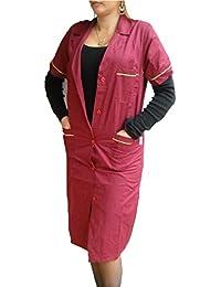 Fratelliditalia - Camisa de mujer, bata de maestra, de algodón, mujer, burdeos