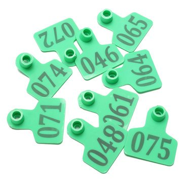 Atoz prime 100Sets Green Animals Cattle Goat Pig Sheep Use Ear Number Tag Livestock Tags Labels