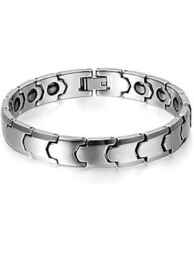 JewelryWe Schmuck Herren Magnet Armband, Wolframcarbid Wolfram, Klassiker Poliert Magnetarmband, Silber