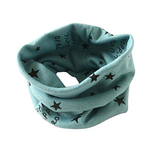 ❤️Winterstern Halstuch, Kobay Herbst Winter Jungen-Mädchen-Kragen Baby Schal Baumwolle O-Ring Hals Schals (Für 2-10 Jahre alt, Grün) -