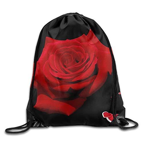 Rvca Black Jeans (Red Rose with Black Print Drawstring Backpack Rucksack Shoulder Bags Sport Gym Bag for Men and Women)