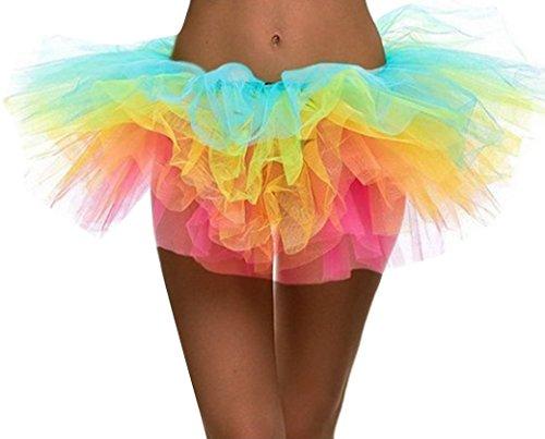 Für Kostüme Tanz Mädchen Jazz (FEOYA Rock Tütü Damen Polyester tutu Damenrock Cosplay Kurz Tanzkleid Party Sommer Pettiskirt Tüllrock Unterrock Mädchen Elastische Bund Minirock One Size -)