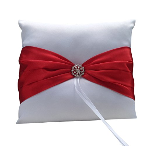 TOOGOO(R) Wedding Ceremony Satin Ring Bearer Pillow Cushion Red Ribbon Decor White