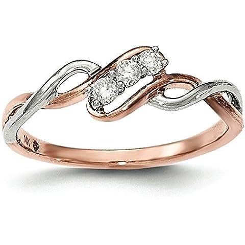 In oro bianco e rosè 14 kt, finitura lucida, con anello JewelryWeb