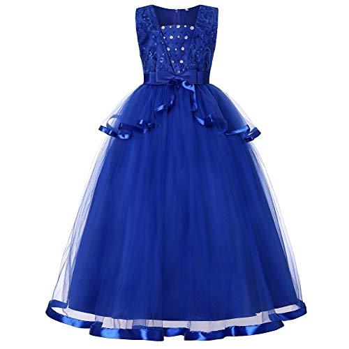 Toamen abbigliamento da ragazze nozze abiti da cerimonia, estate senza maniche abito di tulle festa tutu da sera da sposa regalo di compleanno(blu,130)