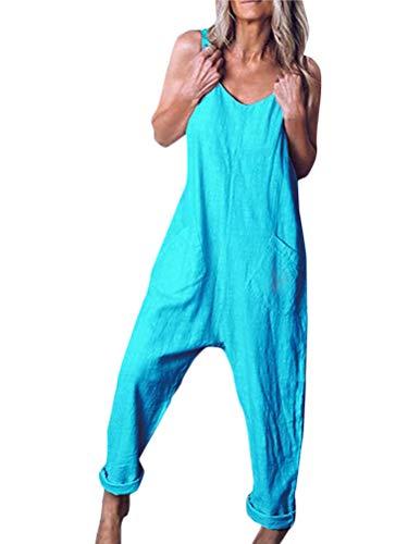 Tomwell Damen Beiläufig Latzhose Jumpsuits Bib Hose Leinen Casual Loose Overall Lange Wide Leg Hosen A Blau DE 42 - Leinen Overalls Hosen