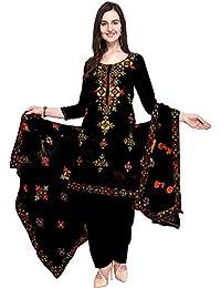 HMP Fashion Women's Chanderi Silk Rajasthani Mirror Work Embroidery Unstitched Salwar Kameez Dress Material