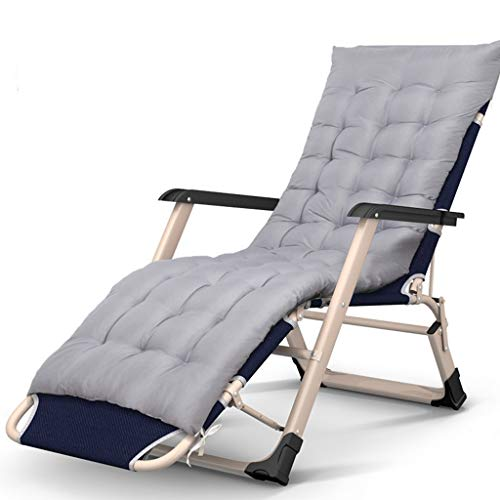 Klappstuhl Patio Reclining Mit Kissen Für Schwere Menschen Schwerelosigkeit Im Freien Strand Rasen Camping Tragbaren Stuhl, 200 kg (Farbe: Grau) ()