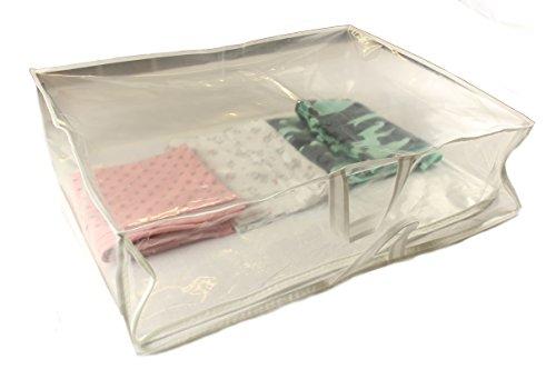 Aufbewahrungstasche für Bettdecken Decken Kissen Tagesdecken Kleidung Tasche (Weiß, 70x55x21cm) (Bettdecke Bett-tasche)