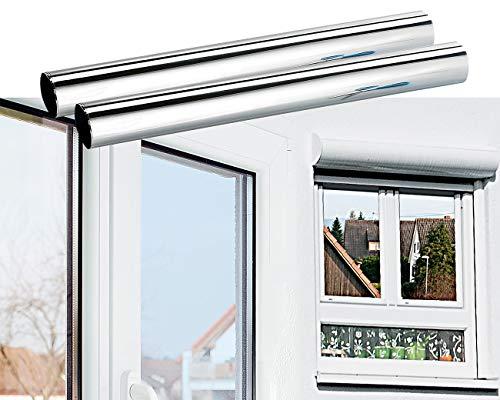 infactory Fenster Spiegelfolie: 2er-Set Isolier-Spiegelfolie, Sicht-/UV-Schutz, selbstklebend,40x200cm (Isolierfolie)