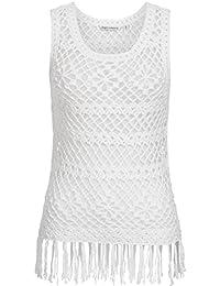 Häkeltop | Stricktop | Lochstrick Shirt für Damen von Urban Surface - angesagtes Häkel Top im Hippie Style mit Fransen