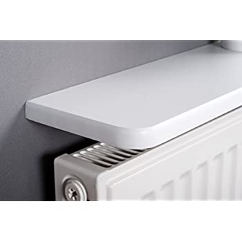 white rounded radiator shelf 48x6 inch