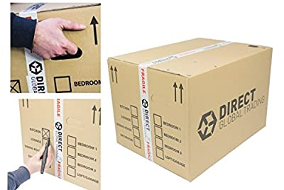 5 Strong Extra Large Cardboard Storage Packing Moving House Boxes Double Walled with Carry Handles and Room List 24'' x 18'' x 16''