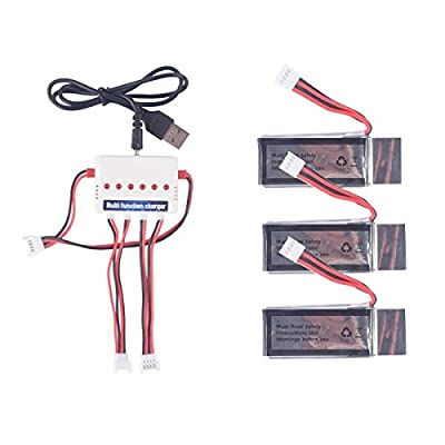 CreaTion 3pcs 350mAh Battery and Charger for Udi U818A WIFI FPV Udi U845 U945 WiFi RC quadcopter drone spare parts