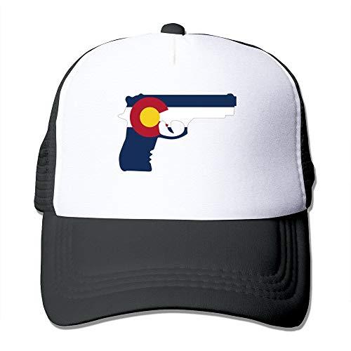 LUPNZ AKANT Gun Decals Colorado State Flag Mesh Unisex Adult-one Size Snapback Trucker Hats Black - Colorado Decals