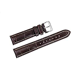 18mm Dark Brown Luxury Italian Leather Watch Straps/Bands Replacement with White Contrast Stitching