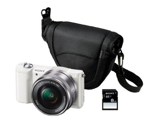 Sony ILCE-5000LW - Cámara EVIL de 20.1 Mp (pantalla articulada 3', estabilizador, vídeo Full HD, WiFi), color blanco - kit con objetivo 16-50mm f/3.5 OSS, funda y tarjeta SD de 8 GB