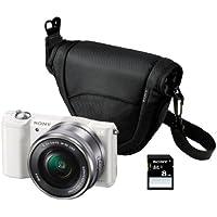 "Sony ILCE-5000LW - Cámara EVIL de 20.1 Mp (pantalla articulada 3"", estabilizador, vídeo Full HD, WiFi), color blanco - kit con objetivo 16-50mm f/3.5 OSS, funda y tarjeta SD de 8 GB"