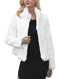 iBaste Corto Abrigo Mujer Collar del Soporte Chaqueta Invierno Chaquetas Pelo Sintético