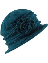 West See Damen Vintage Wolle Cloche Bucket Hut Beret Topfhut mit Blumendetail Wintermütze