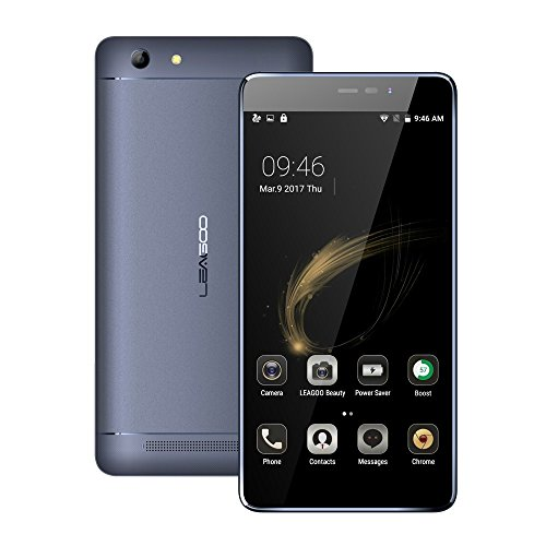 LEAGOO Shark 5000 3G Smartphone Ohne Vertrag 5,5 Zoll HD IPS Display mit 5000MAH Riesiger Akku Standby 500 Stunden OTG Power Sharing Android 6.0 MT6580A Quad Core Dual SIM 1GB RAM+8GB ROM 13MP+8MP Kameras(Grau)