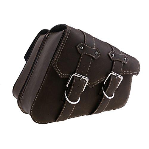 Preisvergleich Produktbild KESOTO 2 Stück Motorrad Seite Packtaschen Tasche Satteltaschen Motorrad Gepäcktasche für alle Werkzeuge,  Farbwahl - Retro braune Doppelschnallen