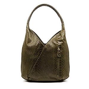 FIRENZE ARTEGIANI.Bolso shopping bag de mujer piel auténtica.Bolso hombro mujer cuero genuino. Bolso de piel acabado SAVAGE. MADE IN ITALY. VERA PELLE ITALIANA. 36x23x17 cm