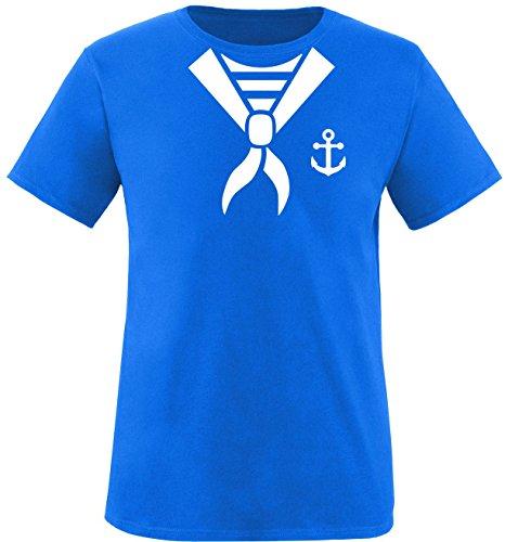 EZYshirt® Matrosen Kostüm Herren Rundhals T-Shirt Royal/Weiß