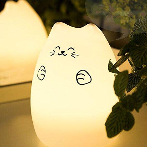 DAXGD Night Light LED Silicone Cute Kitty lampada da letto 7 USB Colore della luce (Notte Bagno Luce Decor)
