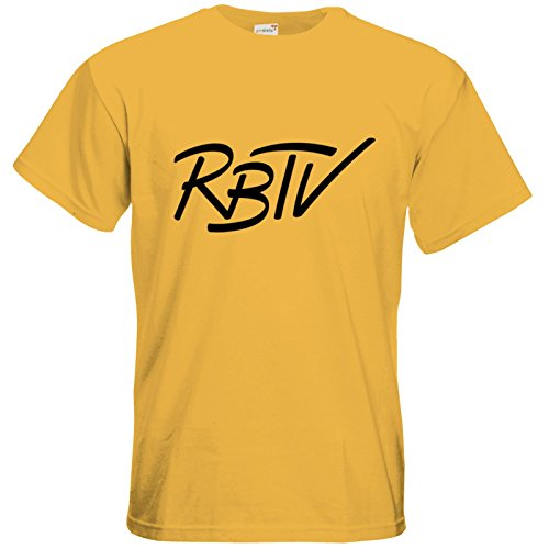 getshirts - Rocket Beans TV Official Merchandising - T-Shirt - RBTV kursiv Gold