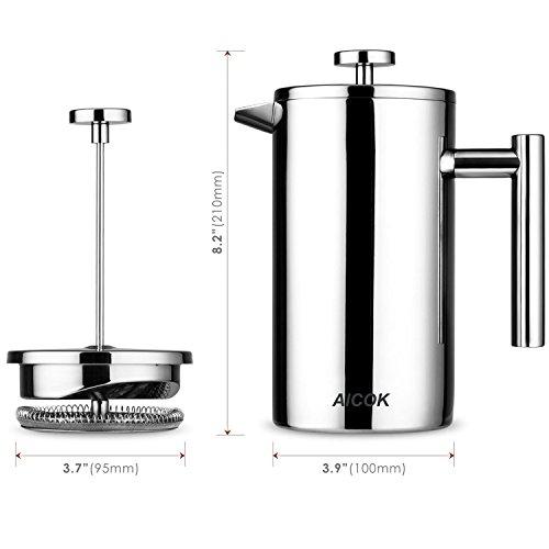 Aicok Kaffeebereiter mit Edelstahlfilter, Kaffeekanne, French Press System mit Zweilagiger Edelstahl Konstruktion – 1L - 8