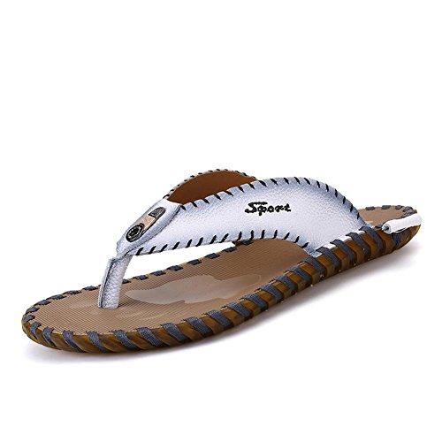 Männer Pantoffel Mode Rindsleder Flip Flops Anti-Rutsch langlebig und komfortable Sandalen , white , 40