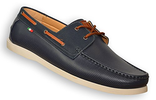 Duke D555 Mens King Size Cade Perforated Boat Shoes Navy - Cade -UK