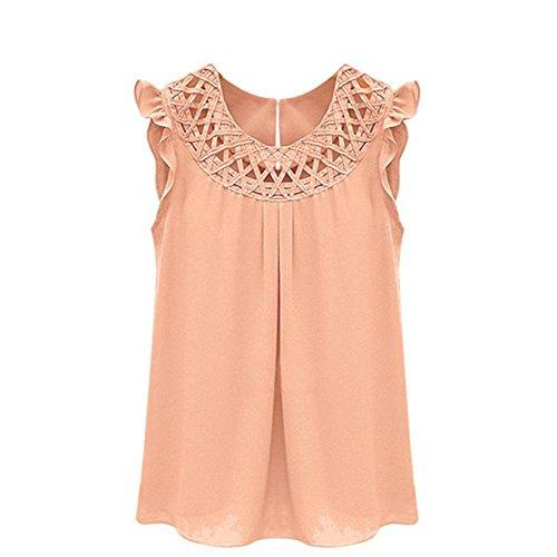 Pacyer® Elegante da Donna Tank top Hollow Out senza maniche Camicia Canotta Estiva Top Camicetta T-shirt (L, Rosa)